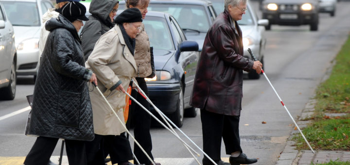 Visually impaired people walk together while marking the White Cane Safety Day in the Belarus capital Minsk on October 15, 2012. White Cane Safety Day is celebrated in many countries on October 15 of each year since 1964. The date is set aside to celebrate the achievements of people who are blind or visually impaired and the important symbol of blindness and tool of independence, the white cane. AFP PHOTO / VICTOR DRACHEV        (Photo credit should read VIKTOR DRACHEV/AFP/GettyImages)